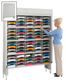 80 Pocket 60-inch Wide Security Mail Sorter with Riser