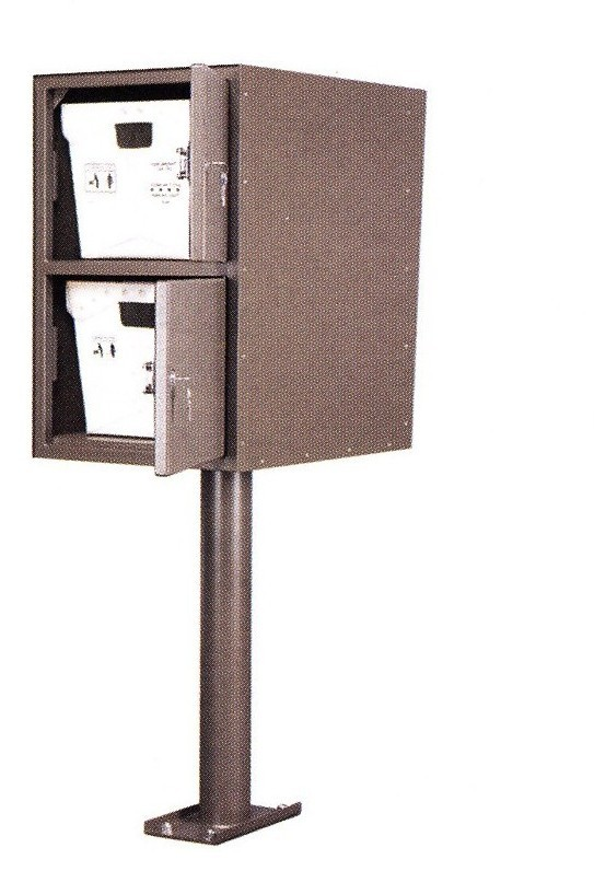 Double Letter Locker Collection Box Double Door Front Rear