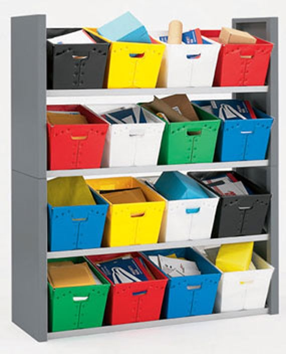 16 Tote Mail Sorting Shelves