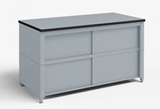 48-Inch Extra Deep Storage Table with Adjustable Height legs with Center Shelf and Dual Locking Doors
