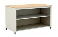 48-Inch Extra Deep Storage Adjustable Height Table with Center Shelf