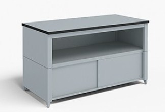 48-Inch Extra Deep Storage Table with Adjustable Height Legs with Center Shelf and Lower Locking Cabinet