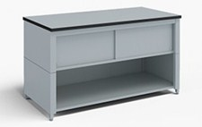 48-Inch Extra Deep Storage Table with Adjustable Height Legs with Lower Shelf and Upper Locking Cabinet