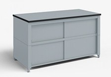 60-Inch Extra Deep Storage Table with Adjustable Height legs with Center Shelf and Dual Locking Doors