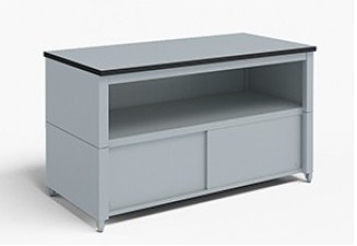 60-Inch Extra Deep Storage Table with Adjustable Height Legs with Center Shelf and Lower Locking Cabinet
