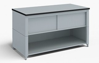 60-Inch Extra Deep Storage Table with Adjustable Height Legs with Lower Shelf and Upper Locking Cabinet