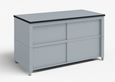 72-Inch Extra Deep Storage Table with Adjustable Height legs with Center Shelf and Dual Locking Doors
