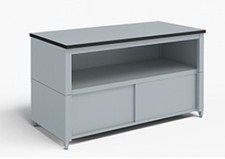 72-Inch Extra Deep Storage Table with Adjustable Height Legs with Center Shelf and Lower Locking Cabinet
