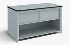 72-Inch Extra Deep Storage Table with Adjustable Height Legs with Lower Shelf and Upper Locking Cabinet