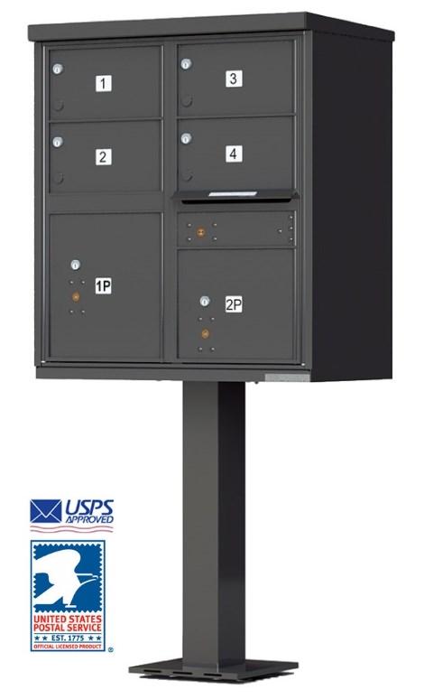 4 Door Cluster Mailbox With Pedestal 1570 4T5 BK