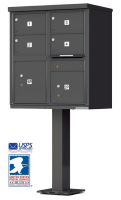 4 Door Cluster Mailbox with Pedestal 1570-4T5-BK