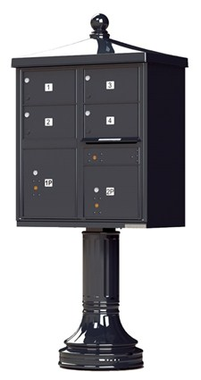 4 Tenant Door Apartment Pedestal Mailbox