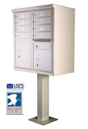 8 Tenant Door Cluster Box Unit With Pedestal
