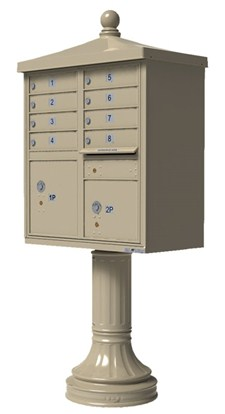 Traditional Decorative 8 Tenant Door Cluster Box Unit