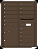 4C11D-15 Eleven Door High Fifteen Tenant 4C Mailbox with Parcel Locker Antique Bronze