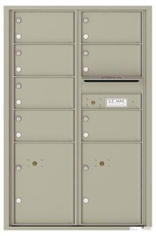 Versatile 7 Tenant Mailbox for sale from US Mail Supply With 2 parcel lockers in Antique Bronze Gray