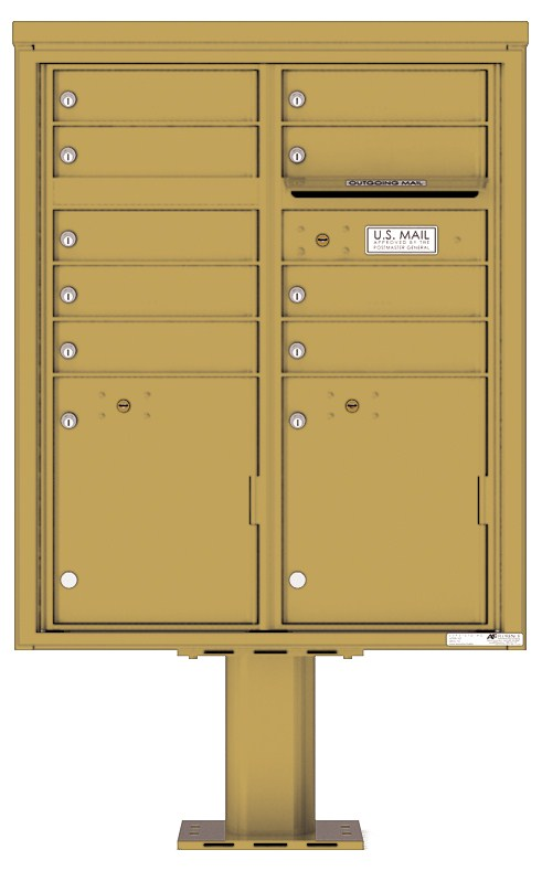 Pedestal Mounted 4C Mailboxes – ADA Max Height - 9 Tenant Mailboxes