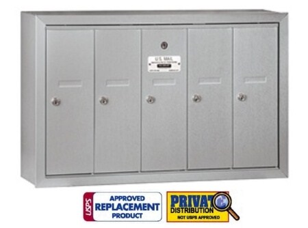 5 Door Vertical Mailbox USPS Approved for Multi Family Buildings
