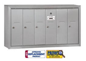 6 Door Vertical Mailbox for Multi Family Buildings