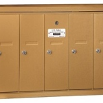 Recessed 5 Slot Vertical Mailbox Brass