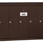 Commercial 5 Door Vertical Mailboxes Bronze