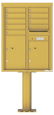 Pedestal Mounted 4C Mailboxes – 9 Tenant Mailboxes Gold Speck