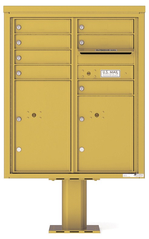 Pedestal Mounted 4C Mailboxes – ADA Max Height - 7 Tenant Mailboxes